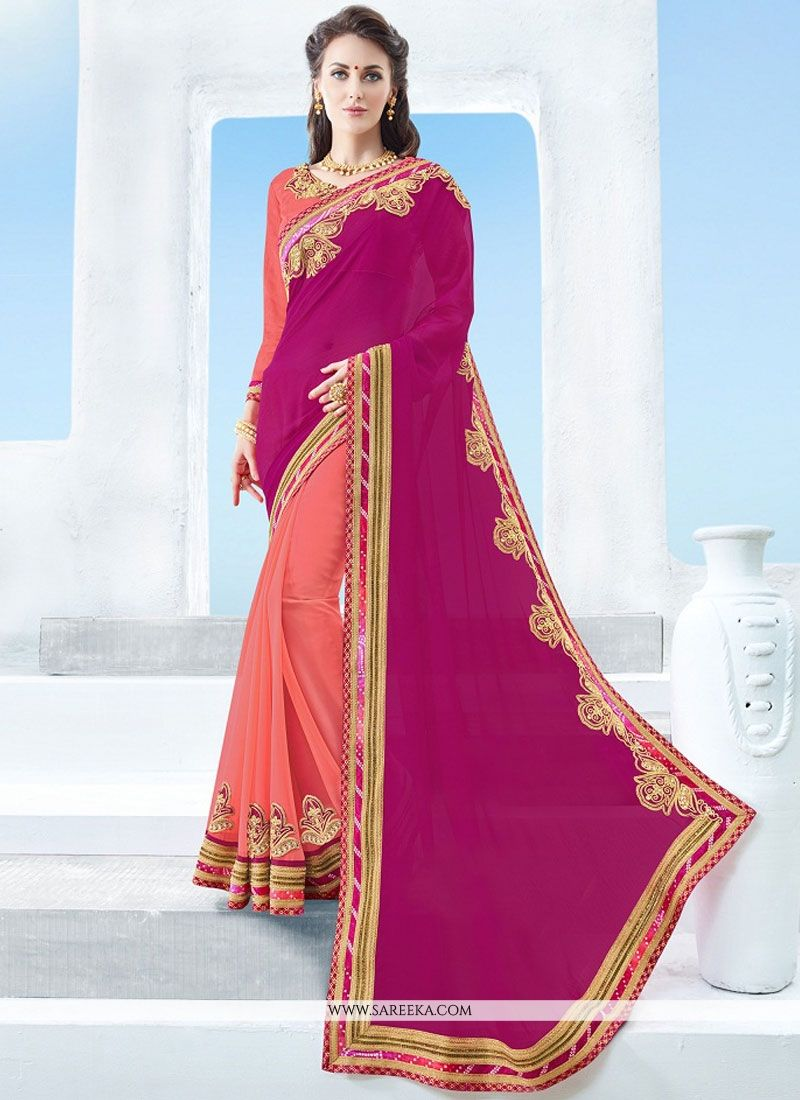 Patch Border Work Orange and Pink Designer Half N Half Saree