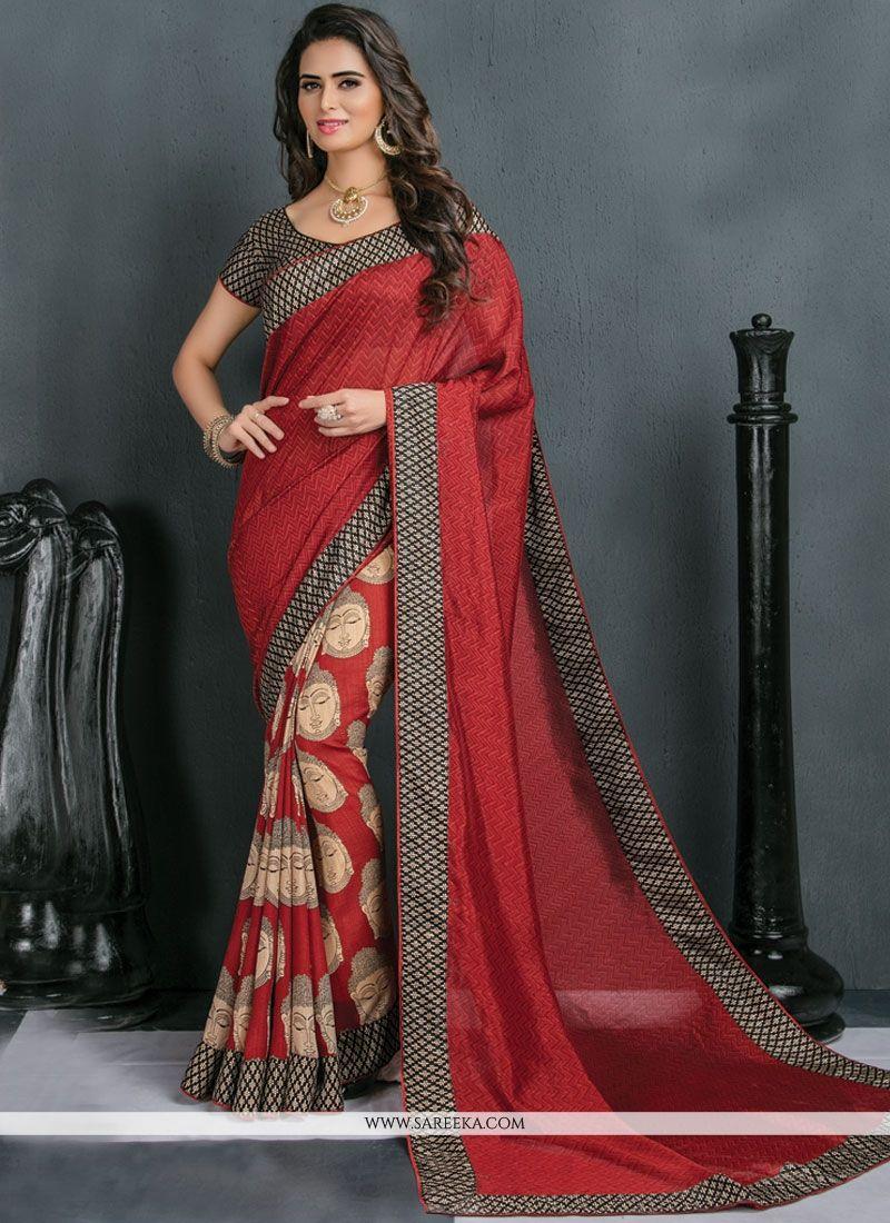 Art Silk Print Work Traditional  Saree