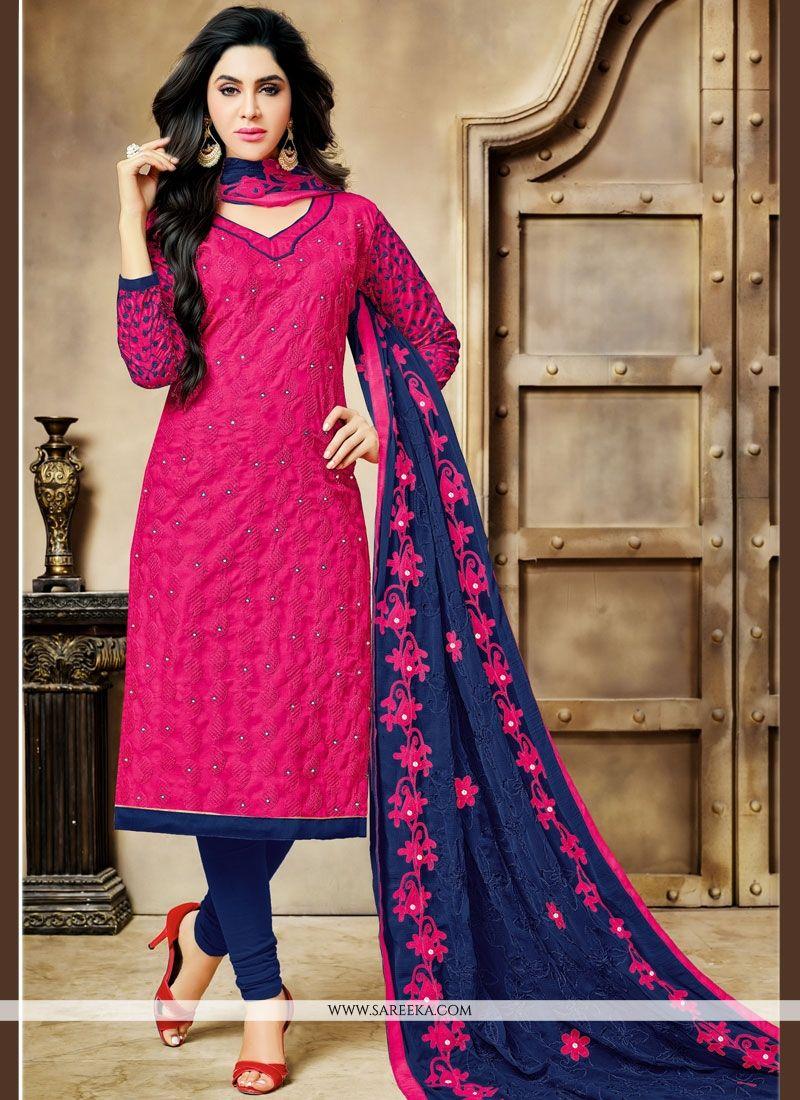 Buy cotton embroidered work churidar designer suit online