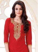 Red Cotton   Churidar Suit