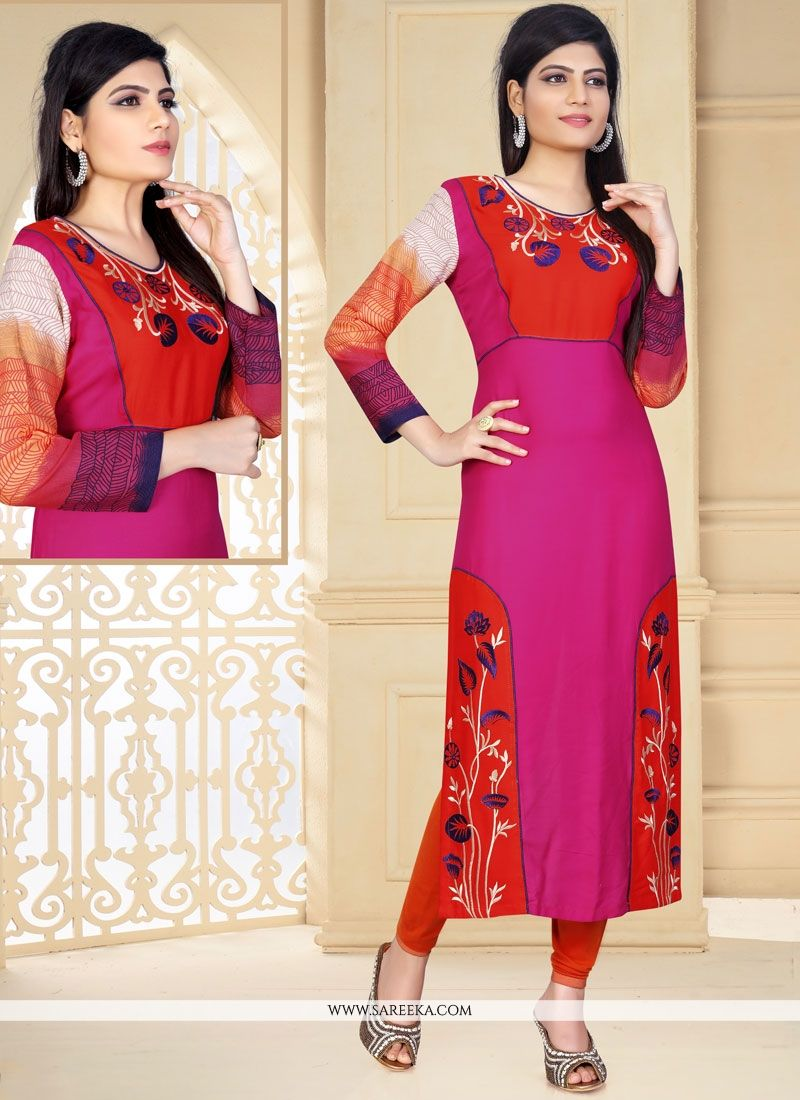 Hot Pink Embroidered Work Rayon Party Wear Kurti
