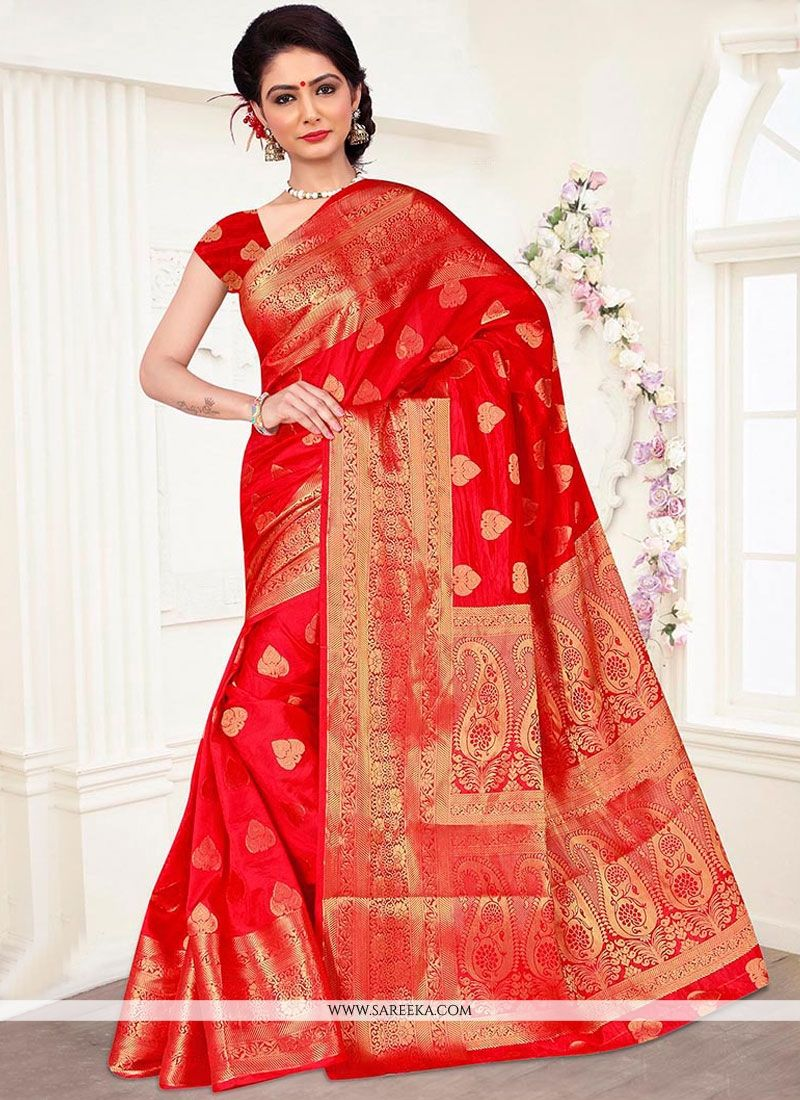 Red Banarasi Silk Traditional  Saree
