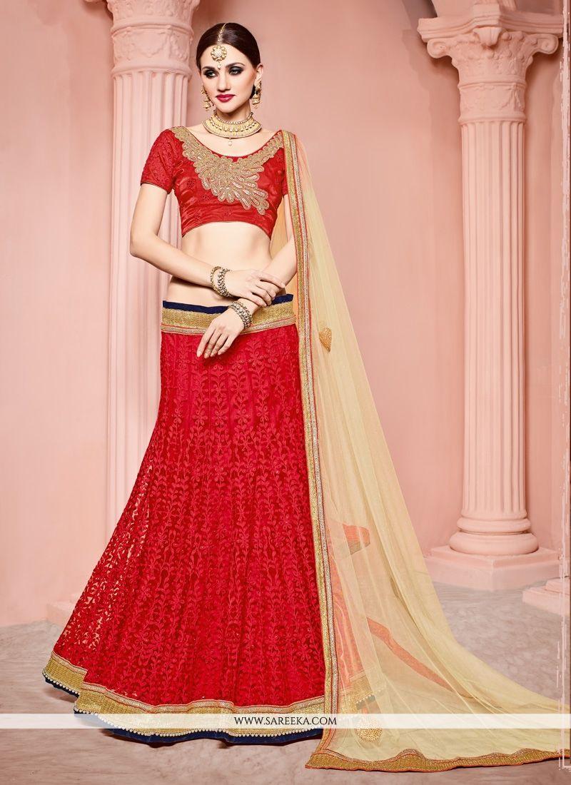 Red Lace Work Net Lehenga Choli