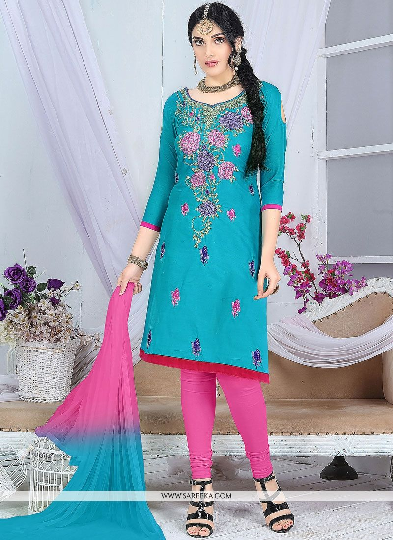 Blue and Pink Embroidered Work Churidar Suit