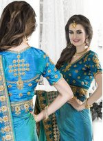 Blue and Sea Green Patch Border Work Art Silk Shaded Saree