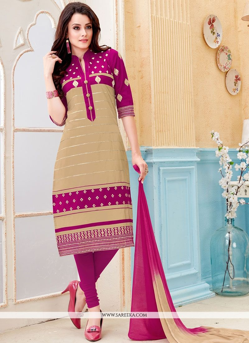 Embroidered Work Cotton   Beige and Magenta Churidar Suit
