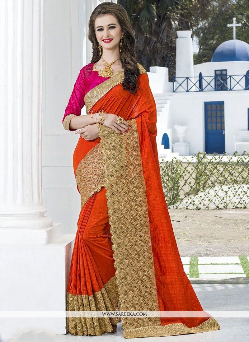 Orange Traditional  Saree