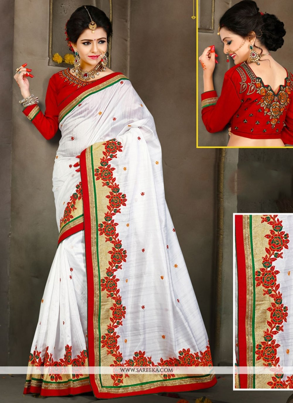 White Bhagalpuri Silk Traditional Designer Saree