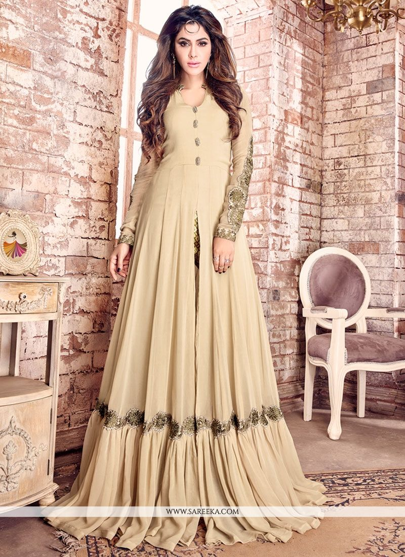 Beige Embroidered Work Faux Georgette Designer Floor Length Salwar Suit