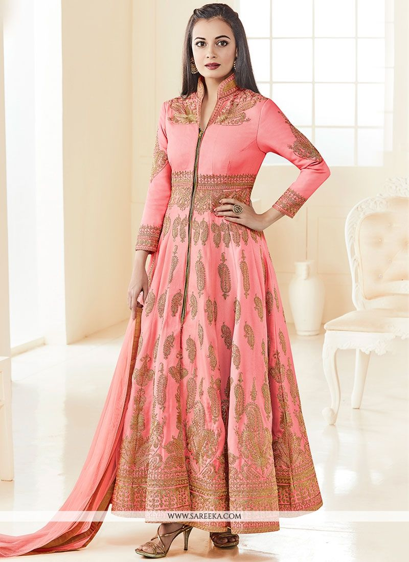 Diya Mirza Art Silk Resham Work Floor Length Anarkali Suit