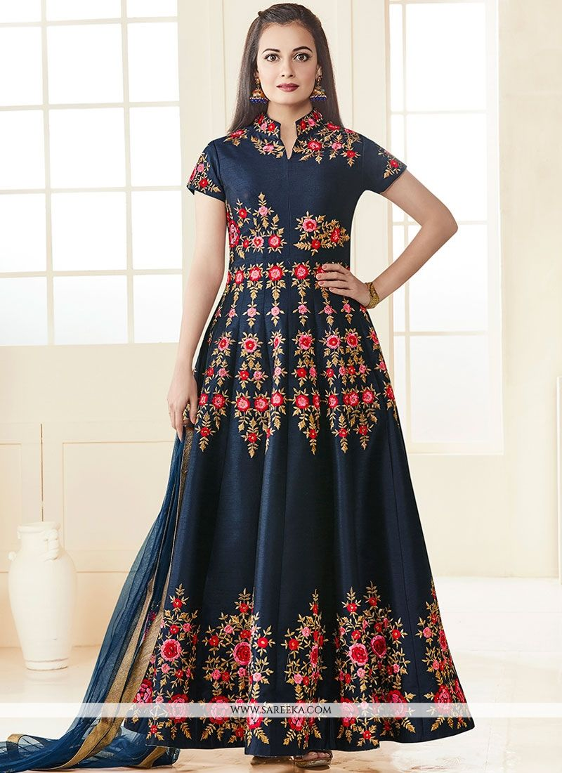 Diya Mirza Navy Blue Resham Work Floor Length Anarkali Suit