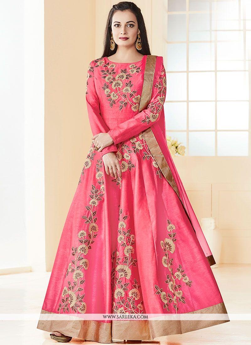 Diya Mirza Resham Work Floor Length Anarkali Suit