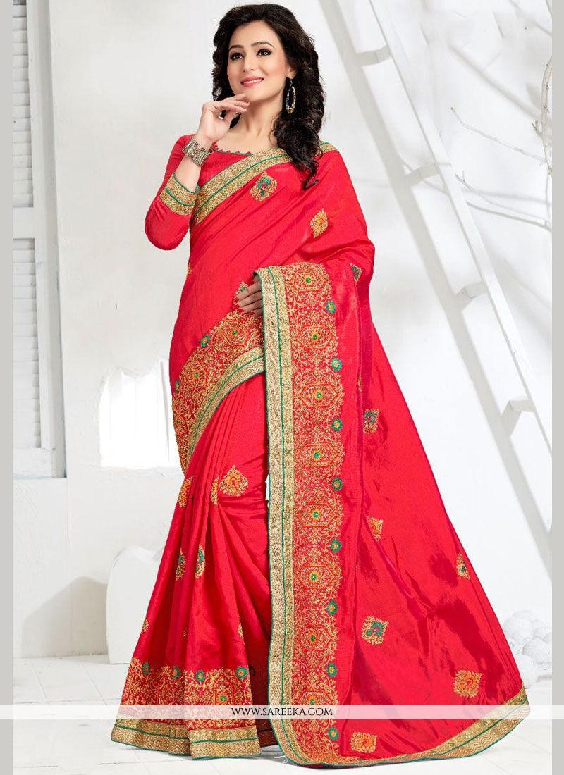 Art Silk Hot Pink Zari Work Traditional  Saree