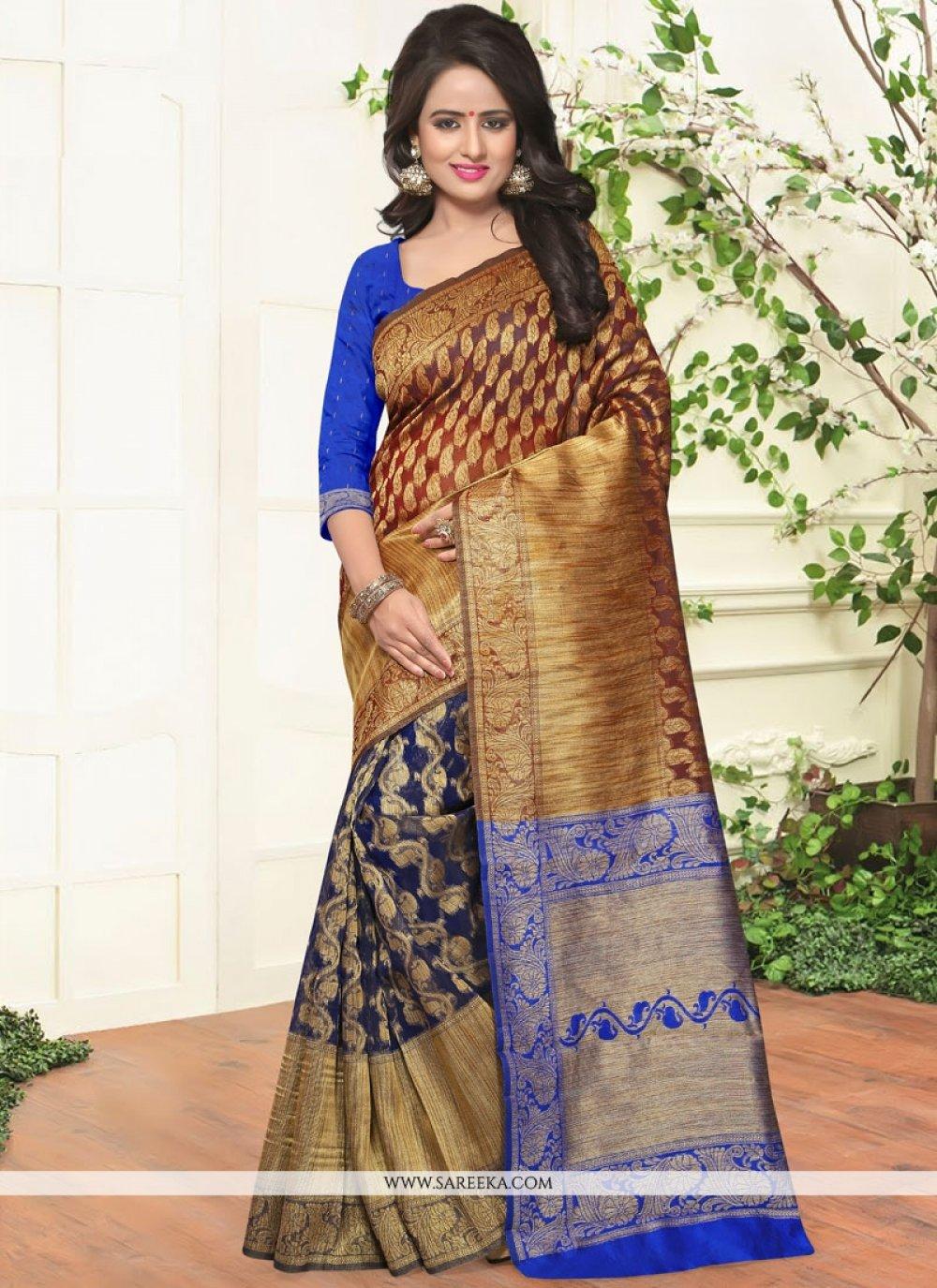 Weaving Work Blue Traditional  Saree