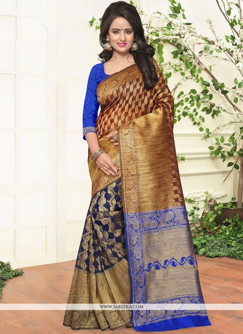 Weaving Work Blue Traditional  Saree