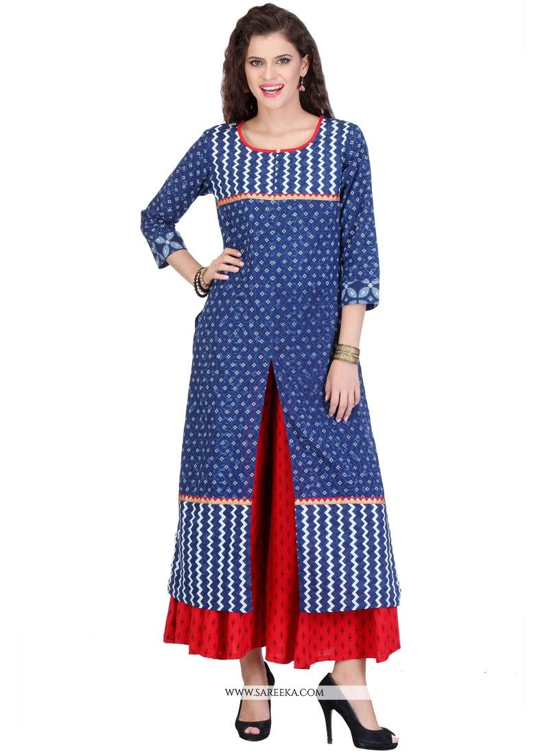 Print Work Blue Cotton   Party Wear Kurti