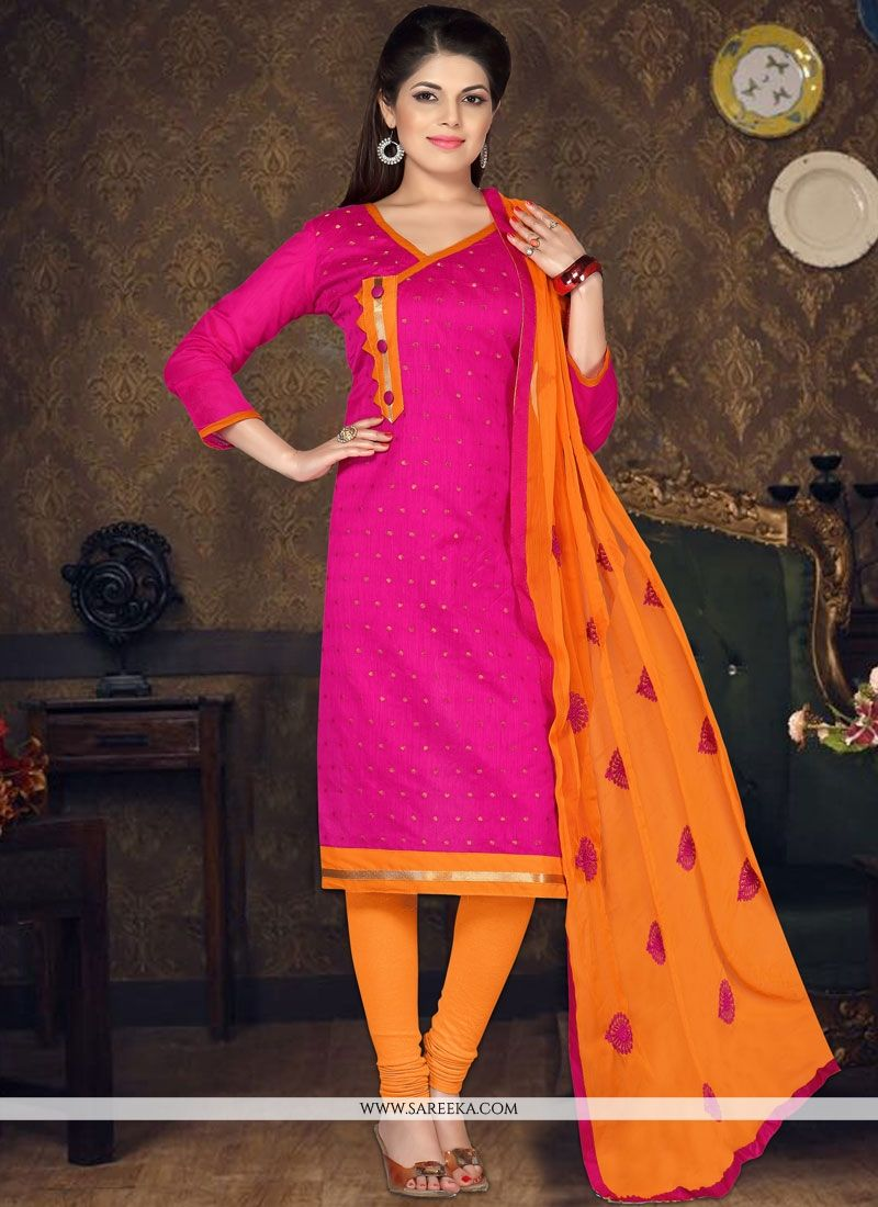 Embroidered Chanderi Cotton Churidar Suit in Hot Pink