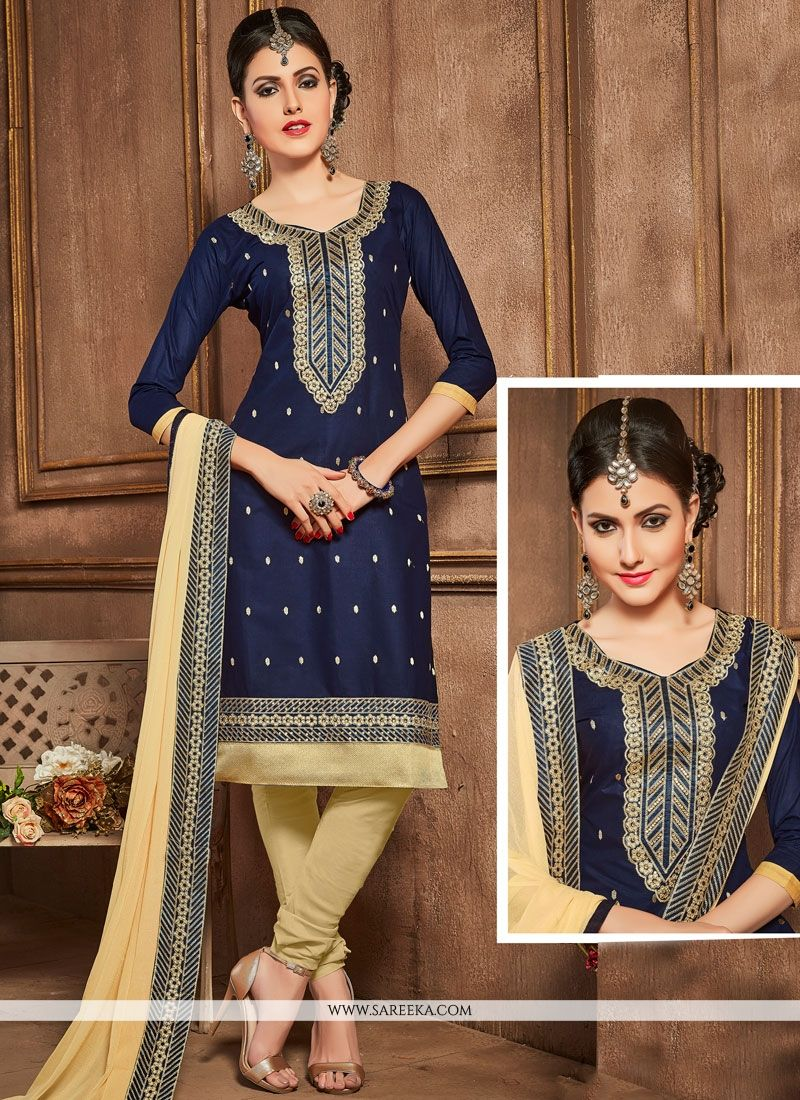 Embroidered Cotton   Churidar Designer Suit in Navy Blue