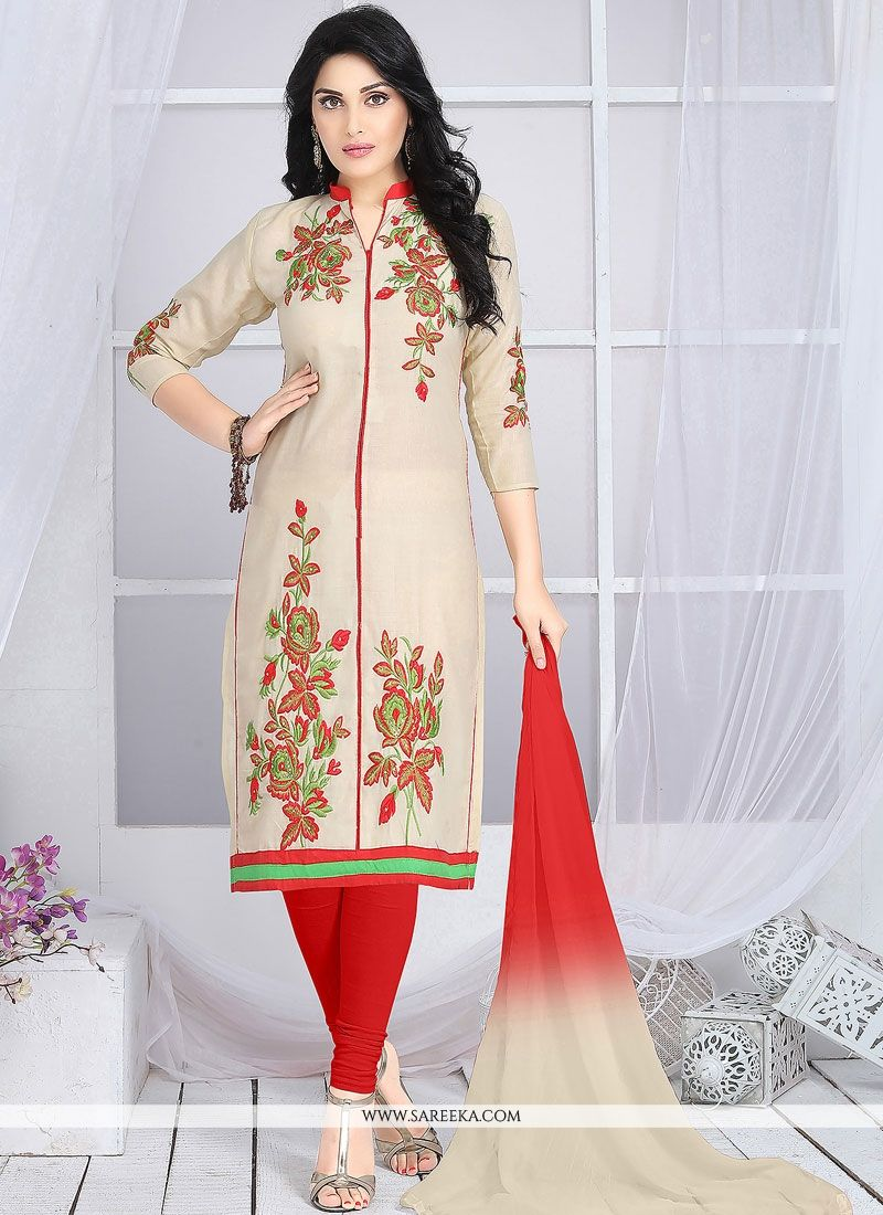 Embroidered Cotton   Churidar Suit in Beige and Red