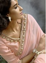Embroidered Fancy Fabric Saree in Pink