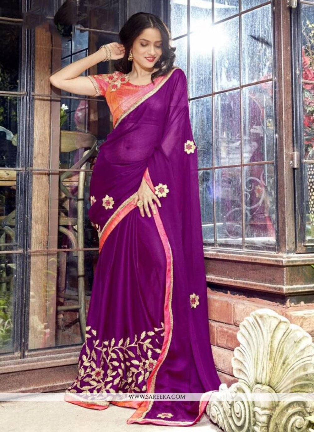 Embroidered Faux Georgette Classic Designer Saree in Purple