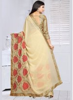 Embroidered Faux Georgette Classic Saree in Beige