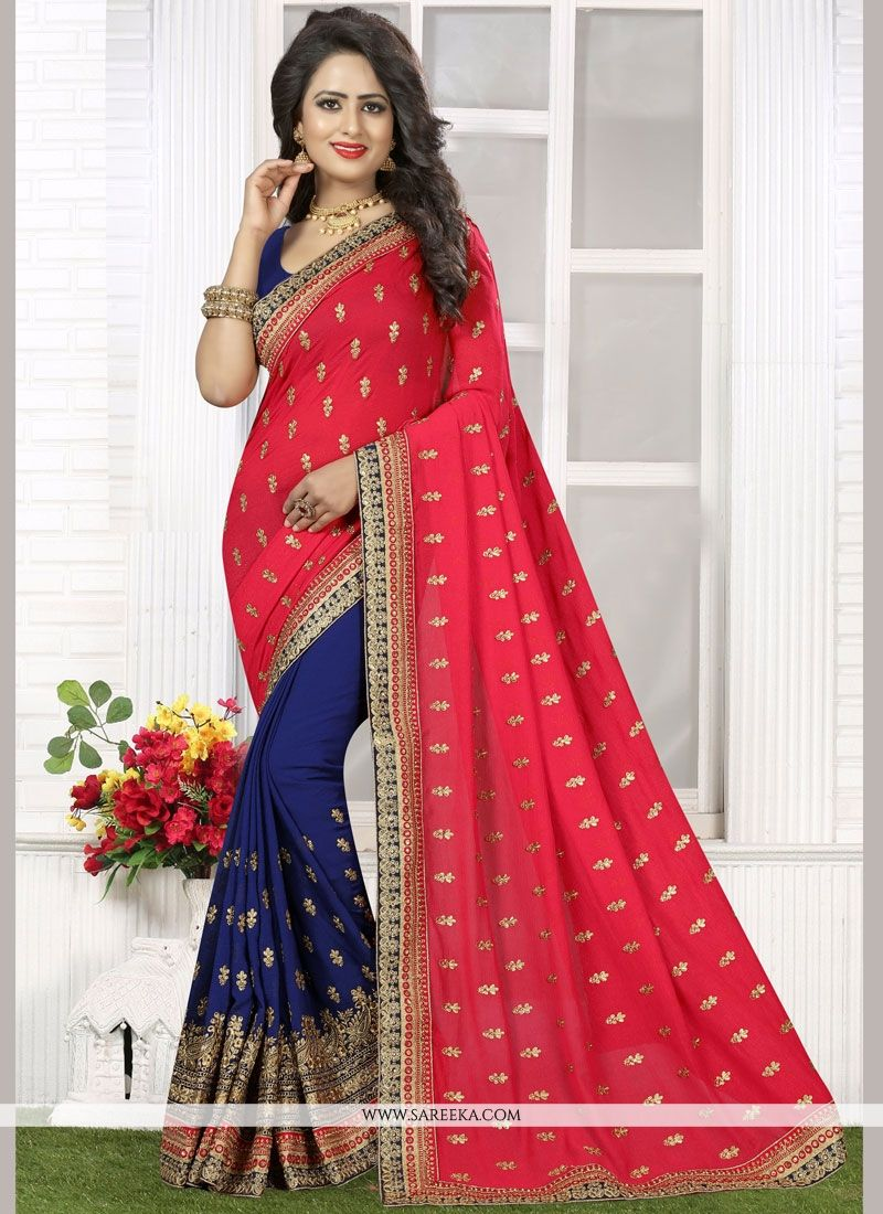 Embroidered Faux Georgette Half N Half  Saree in Navy Blue and Rose Pink