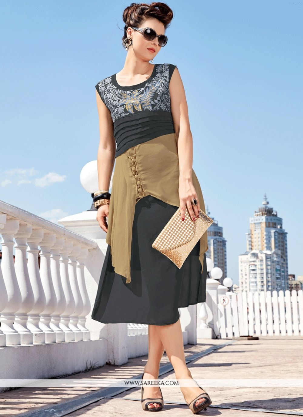 Embroidered Faux Georgette Party Wear Kurti in Black