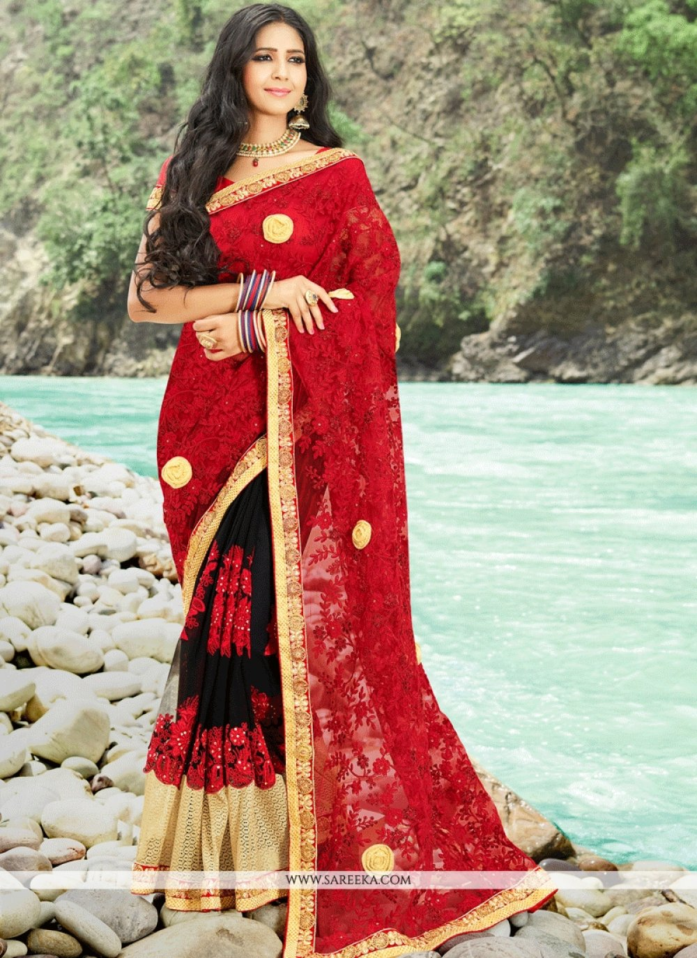 Embroidered Net Classic Designer Saree in Black and Red