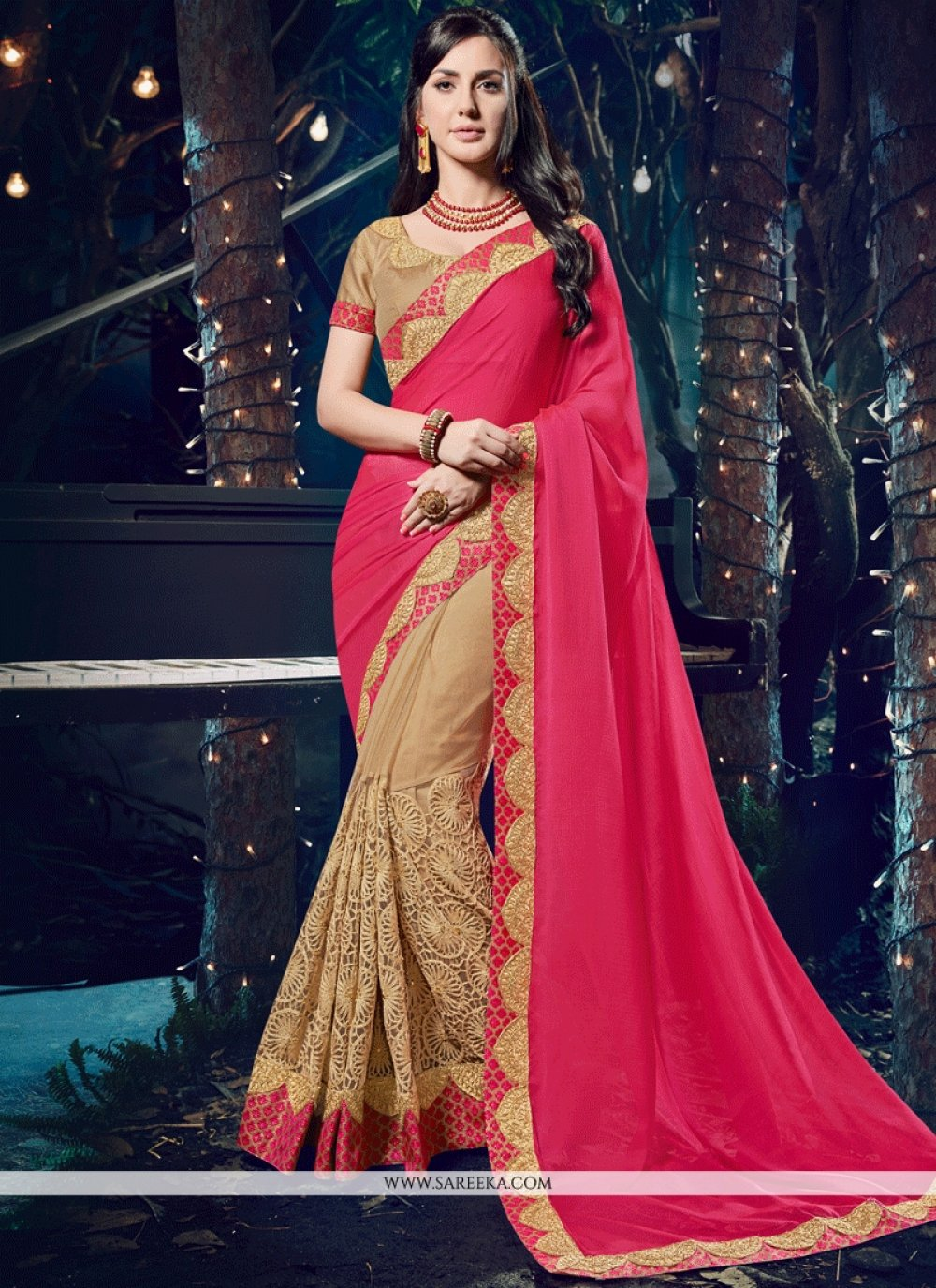 Embroidered Net Designer Half N Half Saree in Beige and Hot Pink