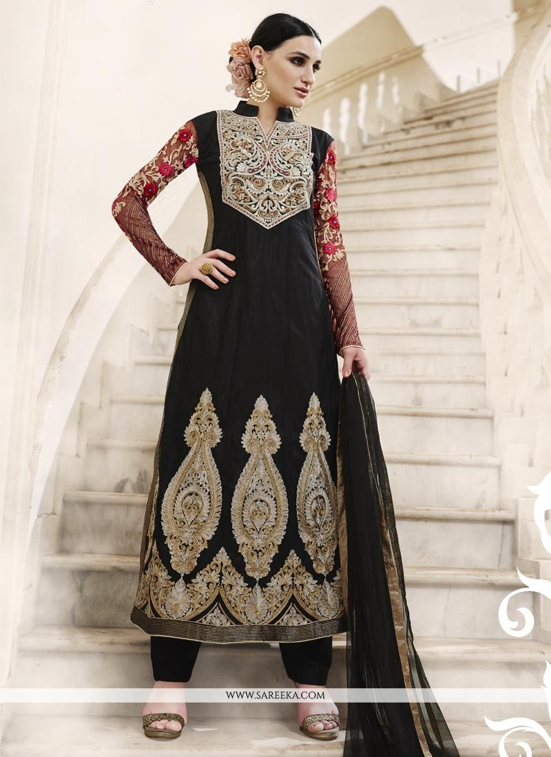 Embroidered Net Designer Straight Suit in Black