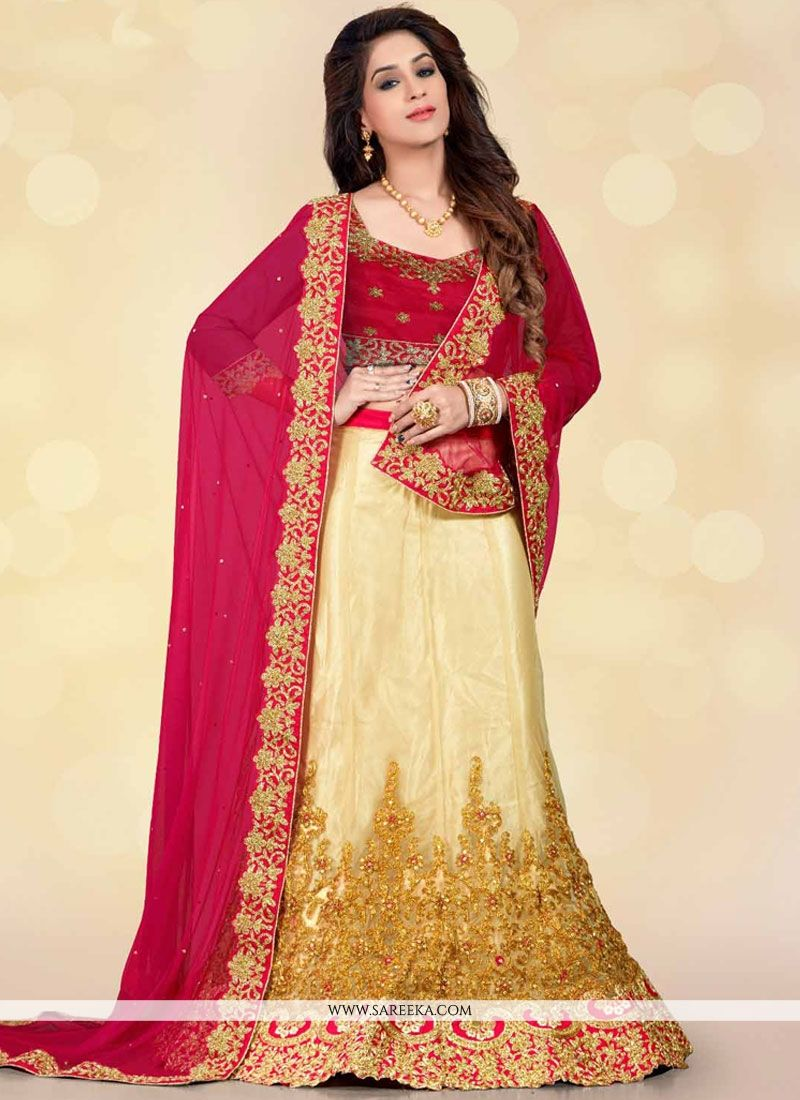 Embroidered Net Lehenga Choli in Beige and Maroon