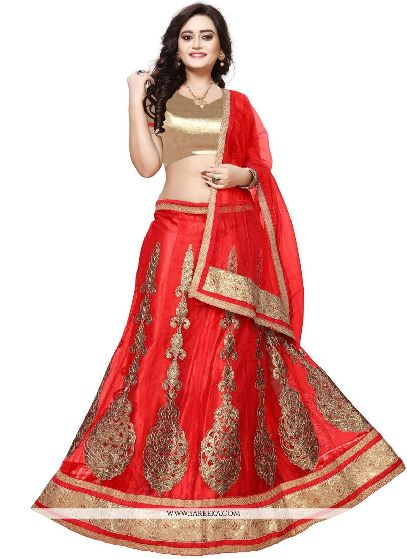 Embroidered Net Lehenga Choli in Red