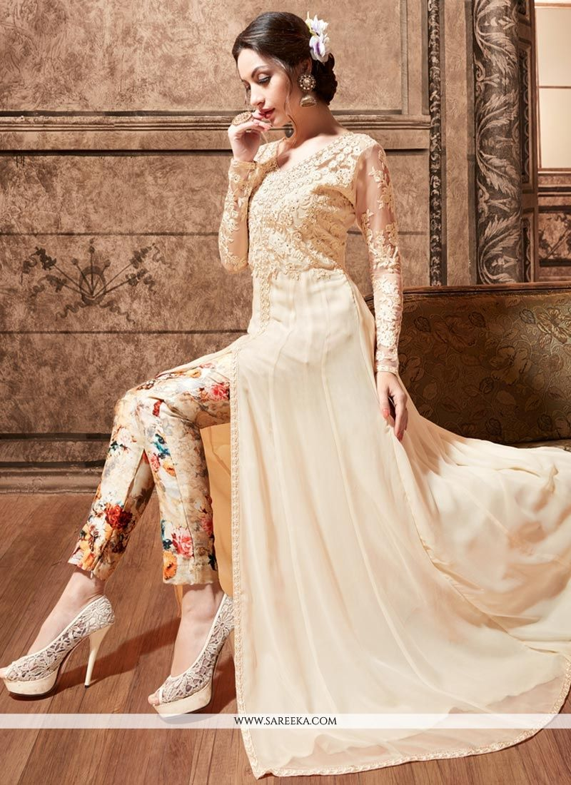Buy Embroidered Pure Silk Pant Style Suit in Cream Online : South ...