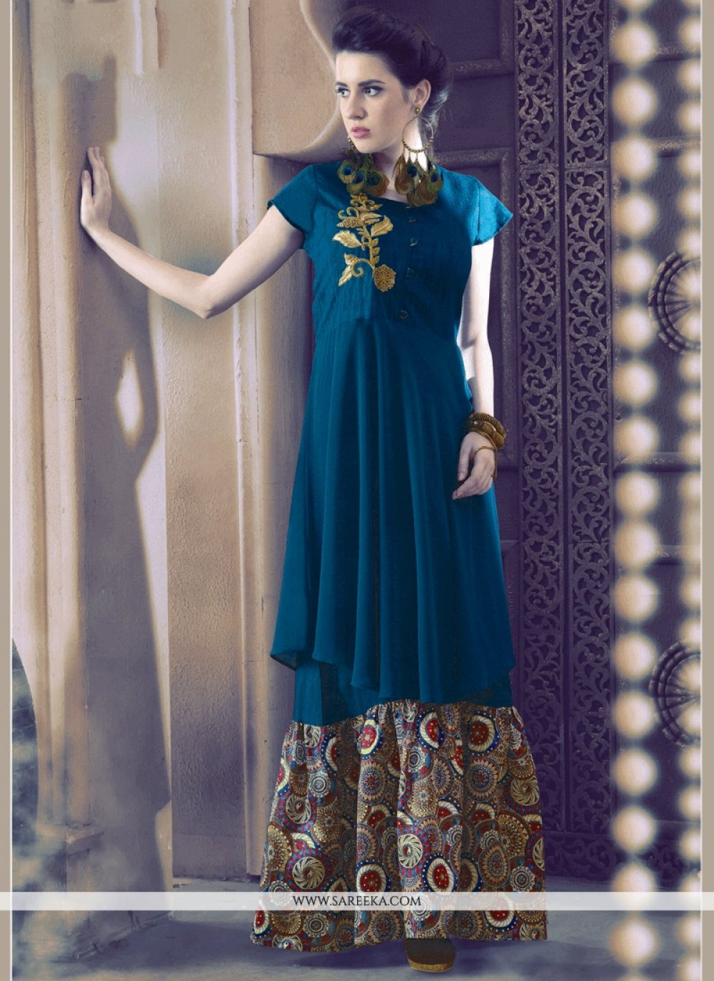 Embroidered Work Art Silk Party Wear Kurti