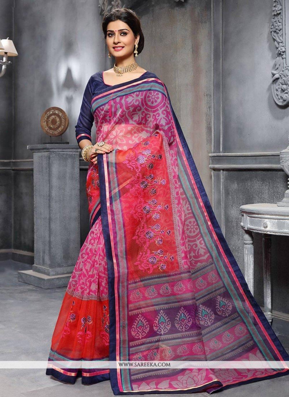 Embroidered Work Art Silk Traditional  Saree