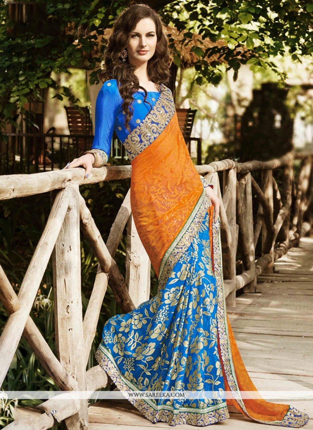 Embroidered Work Blue and Orange Designer Half N Half Saree