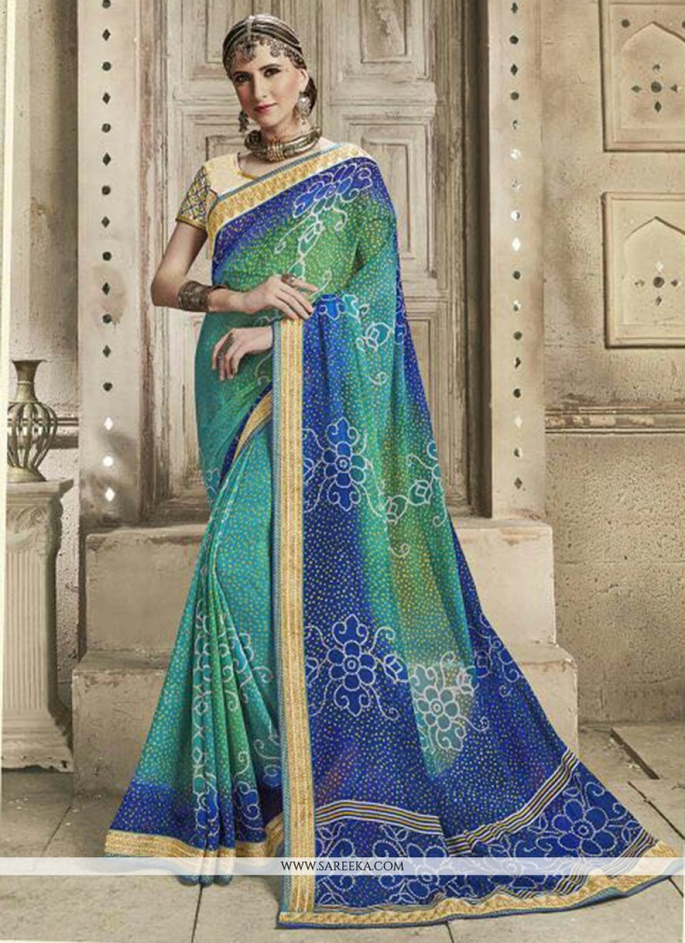 Embroidered Work Blue and Sea Green Shaded Saree