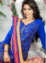 Embroidered Work Blue Churidar Suit