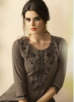 Embroidered Work Brown Party Wear Kurti