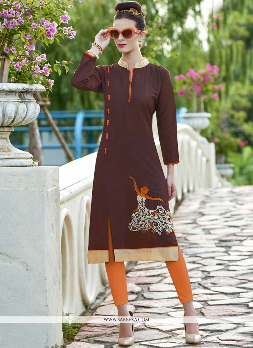 Embroidered Work Cotton   Brown Party Wear Kurti