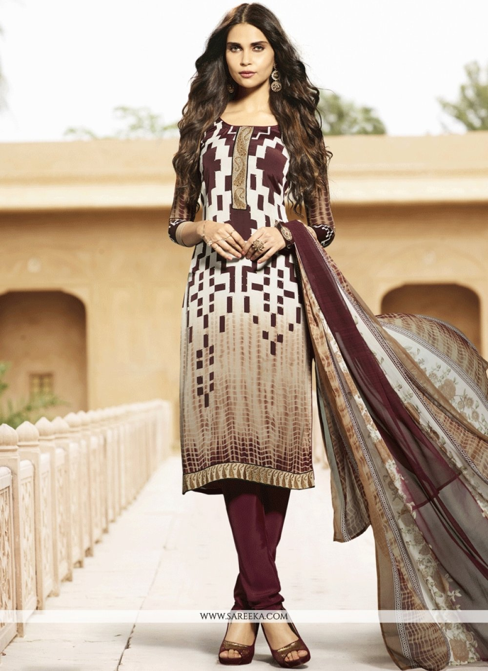 Embroidered Work Faux Crepe Churidar Suit