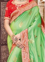 Embroidered Work Green Traditional Designer Saree