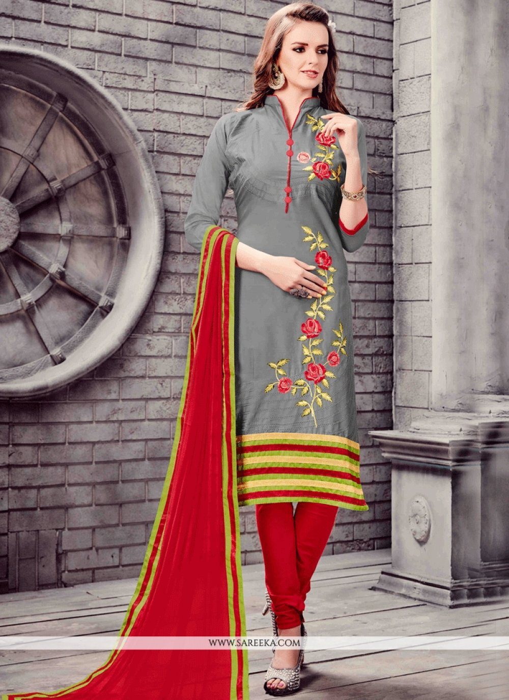 Embroidered Work Grey and Red Cotton   Churidar Suit