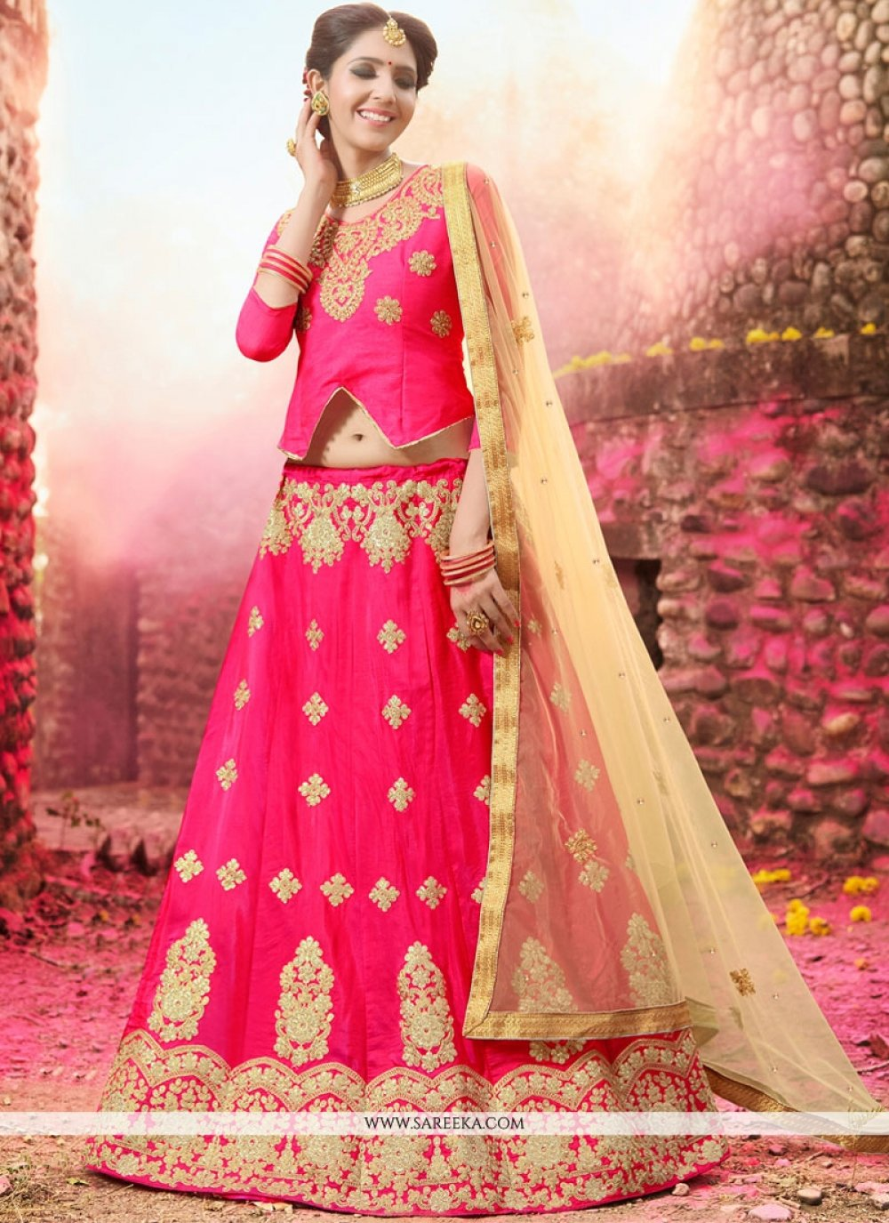Embroidered Work Hot Pink Banglori Silk Lehenga Choli