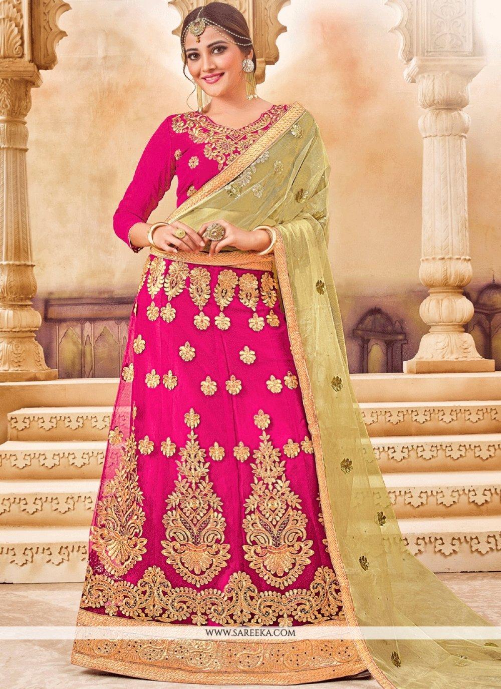 Embroidered Work Hot Pink Net Lehenga Choli