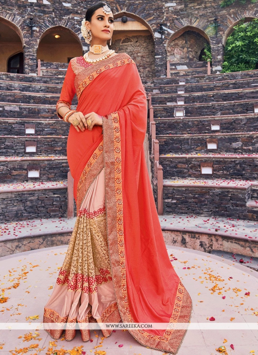 Embroidered Work Lycra Designer Half N Half Saree
