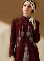 Embroidered Work Maroon Party Wear Kurti