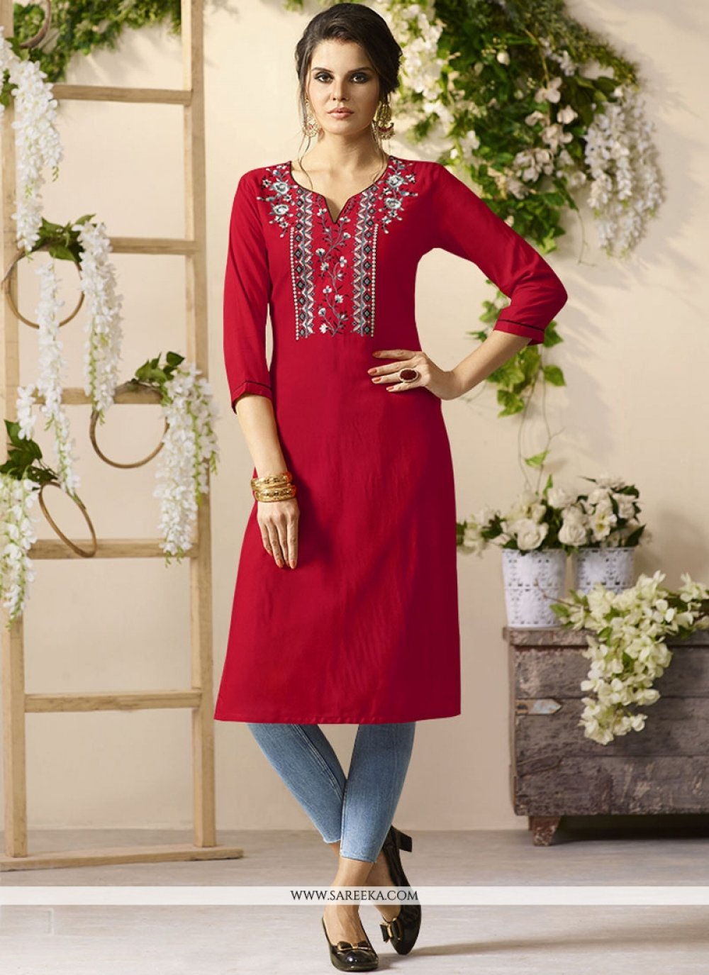 Embroidered Work Maroon Rayon Party Wear Kurti