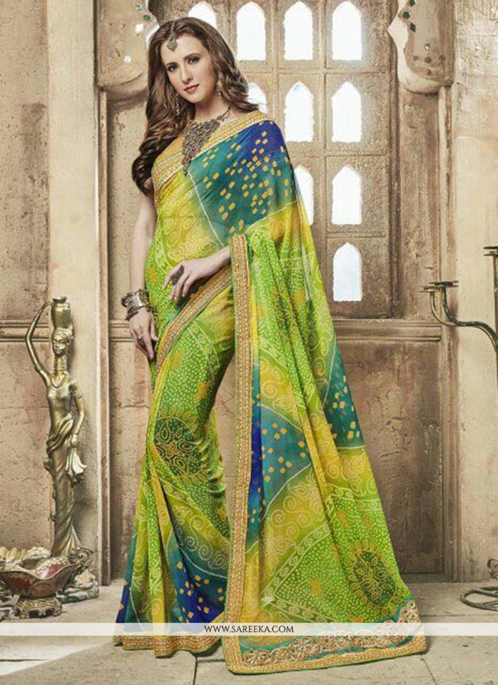 Embroidered Work Multi Colour Designer Saree